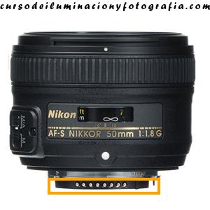 Pins de contacto con la CPU. Objetivo Nikon AF-S 50mm F1.8 G