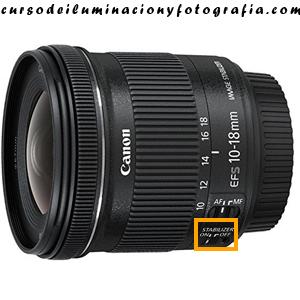 Selector estabilizador on/off. Canon EF-S 10-18 mm f:4.5-5.6 IS STM
